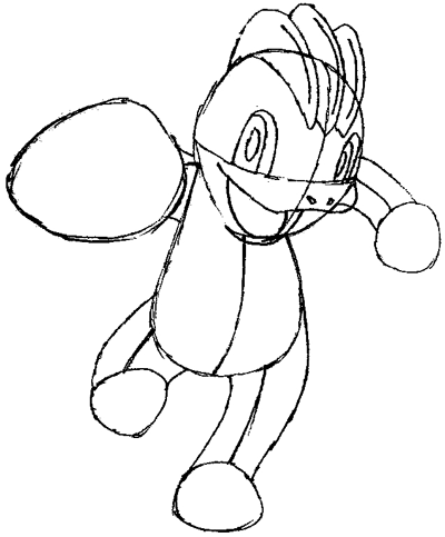 Step 5 : Drawing Machop from Pokemon in Easy Steps Tutorial for Kids