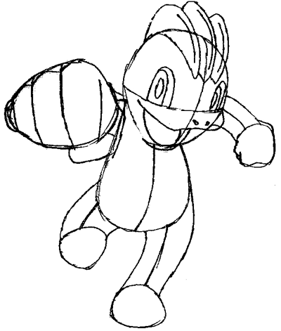 Step 6 : Drawing Machop from Pokemon in Easy Steps Tutorial for Kids