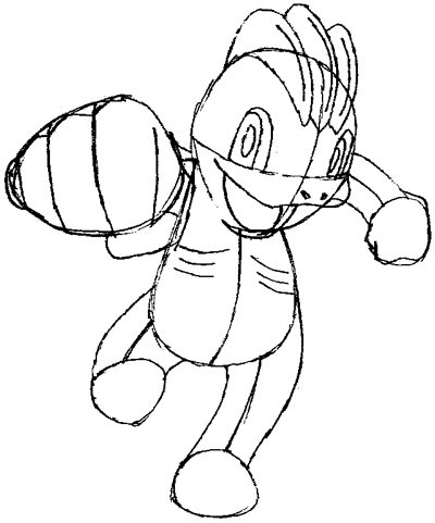 Step 7 : Drawing Machop from Pokemon in Easy Steps Tutorial for Kids