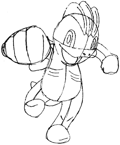 Step 8 : Drawing Machop from Pokemon in Easy Steps Tutorial for Kids