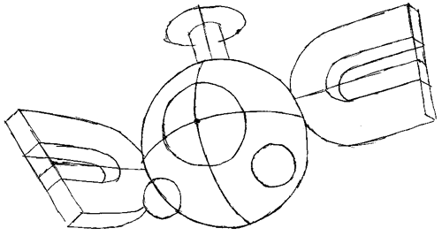 Step 5 : Drawing Magnemite from Pokemon with Easy Steps Lesson