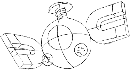 Step 6 : Drawing Magnemite from Pokemon with Easy Steps Lesson