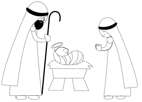 Step 8 : Drawing Nativity Scene with Baby Jesus Mary and Josheph in Manger