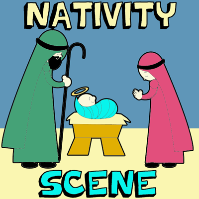 How to Draw Cartoon Nativity Scene with Baby Jesus in Manger with Mary and Joseph