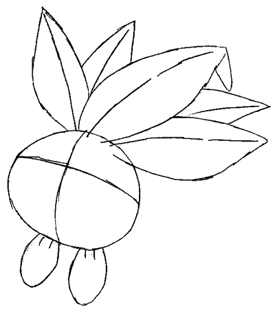 Step 4 : Drawing Oddish from Pokemon Lesson