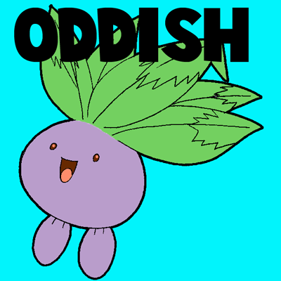 How to draw oddish from pokemon step by step drawing tutorial for kids