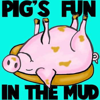 How to Draw Cartoon Pig Rolling in the Mud Sty in Easy Steps Lesson
