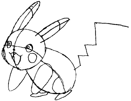 Step 5 : Drawing Pikachu Smiling in Easy Steps