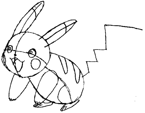 Step 6 : Drawing Pikachu Smiling in Easy Steps