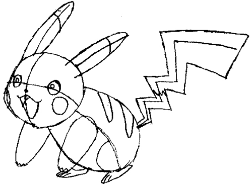 Step 7 : Drawing Pikachu Smiling in Easy Steps