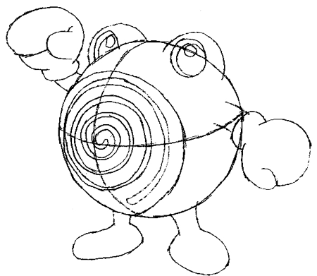 Step 5 : Drawing Poliwhirl with Simple Steps Tutorial