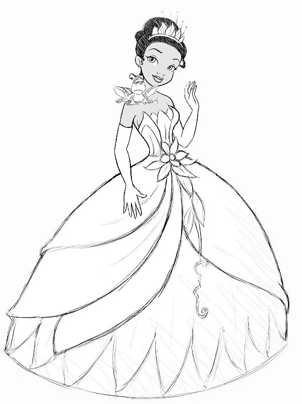 How to draw princess tiana