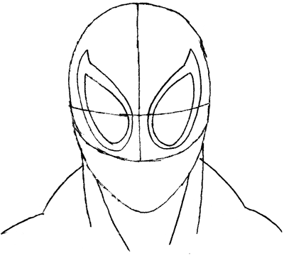 Step 4 : Drawing Spiderman's Face in Easy Steps Tutorial for Kids