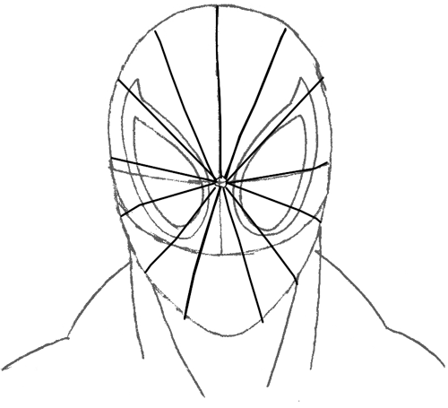 Step 5 : Drawing Spiderman's Face in Easy Steps Tutorial for Kids