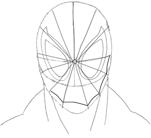 Step 6 : Drawing Spiderman's Face in Easy Steps Tutorial for Kids