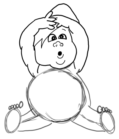 Step 7 : Drawing Baby Babies for New Years Day and Eve Lesson