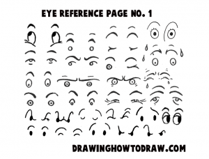 Reference Sheet 1 for Drawing Cartoon Eyes, Comics Eyes