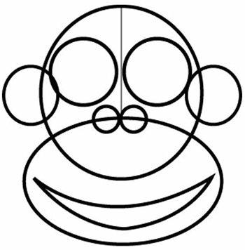 Step 1 : Drawing Cartoon Monkeys in Easy Steps Lesson for Children