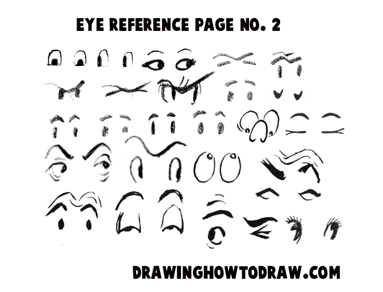 Drawing Cartoon Illustrated Eyes Reference Sheets How To Draw
