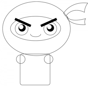 Step 2 : Drawing Cartoon Chibi Ninjas Steps Tutorial