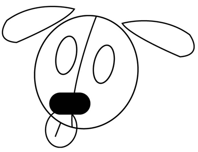 Step 2 : Drawing Puppies in easy steps tutorial