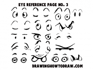 Reference Sheet 3 for Drawing Cartoon Eyes, Comics Eyes
