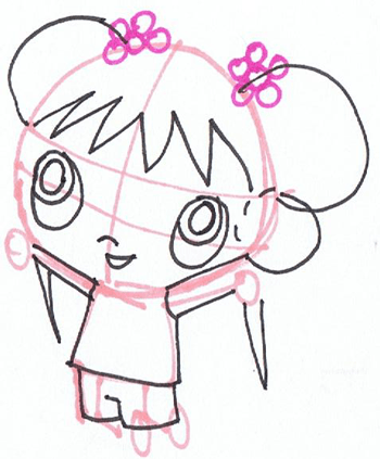 Step 3 : Drawing Ka-Lan from Nick Jr step by step drawing tutorial
