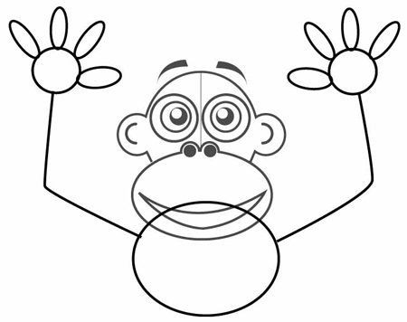 Step 3 : Drawing Cartoon Monkeys in Easy Steps Lesson for Children