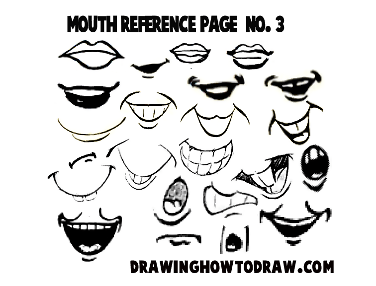 drawing cartoon illustrated mouths lips reference sheets how