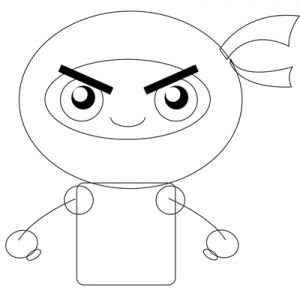 Step 3 : Drawing Cartoon Chibi Ninjas Steps Tutorial