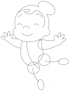 Step 4 : Drawing Cartoon Ballerinas in Simple Steps Lesson