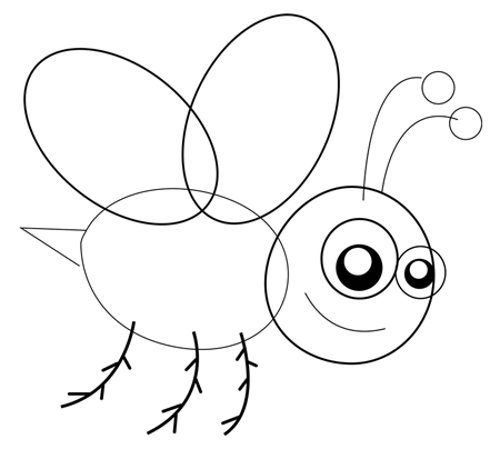 Step 4 : Drawing Cartoon Bees in Easy Steps Lesson for Kids