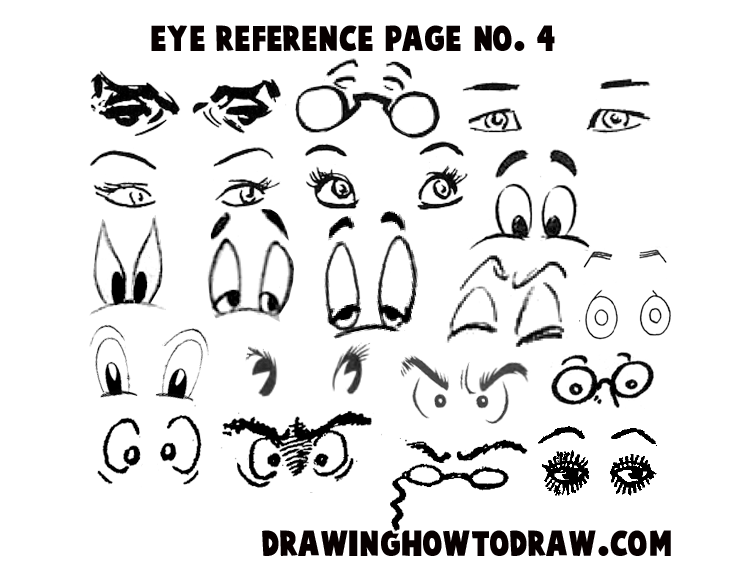 Reference sheet 4 for drawing cartoon eyes comics eyes