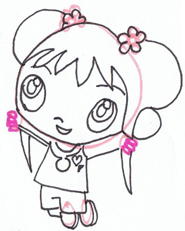 Step 4 : Drawing Ka-Lan from Nick Jr step by step drawing tutorial