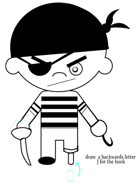 Step 4 : Drawing Cartoon Pirate Boys step by step drawing Lesson