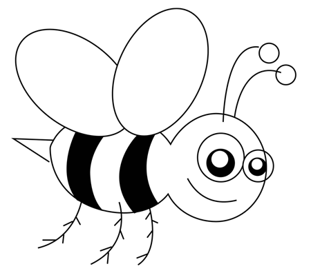 Step 5 : Drawing Cartoon Bees in Easy Steps Lesson for Kids