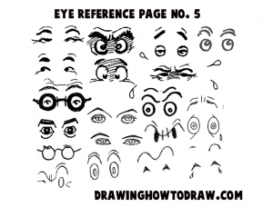 Reference Sheet 5 for Drawing Cartoon Eyes, Comics Eyes