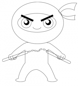 Step 6 : Drawing Cartoon Chibi Ninjas Steps Tutorial