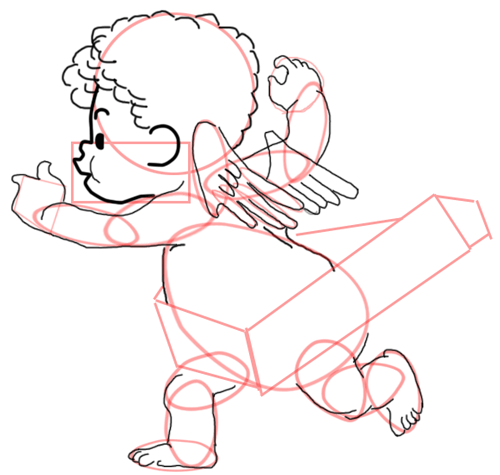 Step 10 : Drawing Baby Cupid Step by Step Tutorial
