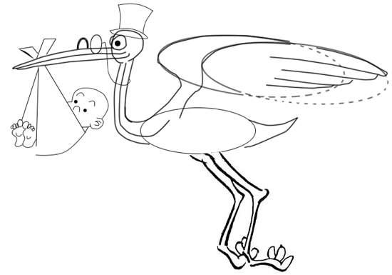 Step 10 : Drawing Cartoon Storks and Babies in Easy Steps Lesson