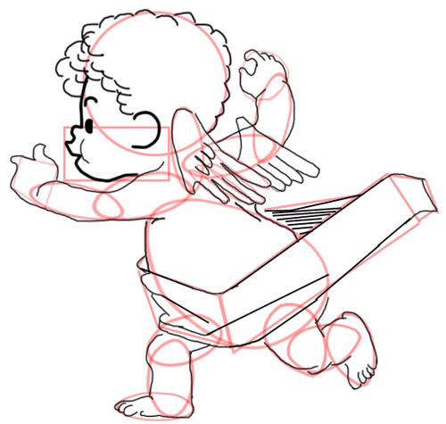 Step 11 : Drawing Baby Cupid Step by Step Tutorial