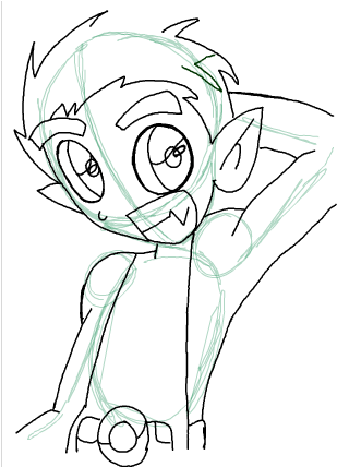 Step 11 : Drawing Beast Boy from Teen Titans Step by Step Tutorial