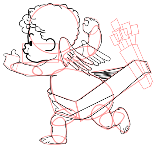 Step 12 : Drawing Baby Cupid Step by Step Tutorial