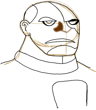 Step 13 : Drawing Cyborg in Simple Steps Lesson