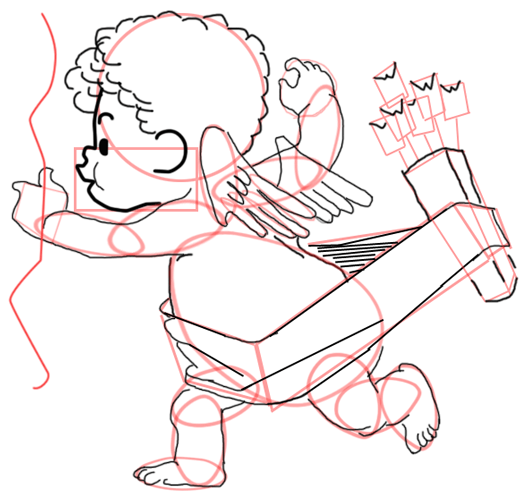Step 14 : Drawing Baby Cupid Step by Step Tutorial
