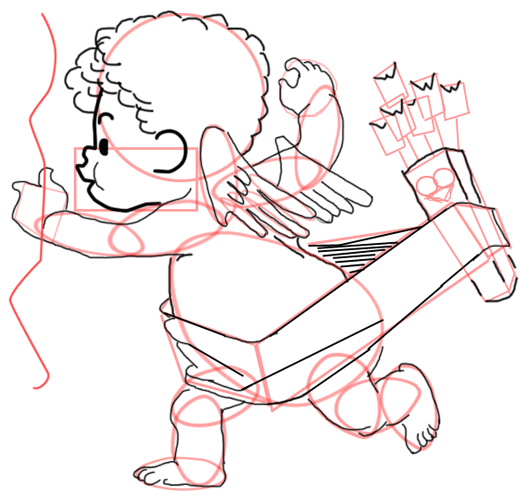 Step 15 : Drawing Baby Cupid Step by Step Tutorial