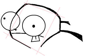 Step 3 : Drawing GIR holding Pet Piggy in Easy Steps Lesson