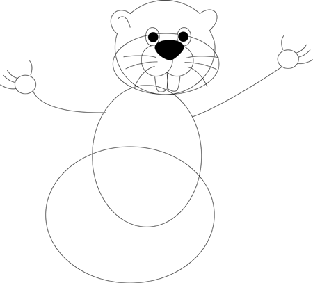 Step 3 : Drawing Cartoon Groundhogs step by step drawing lessons