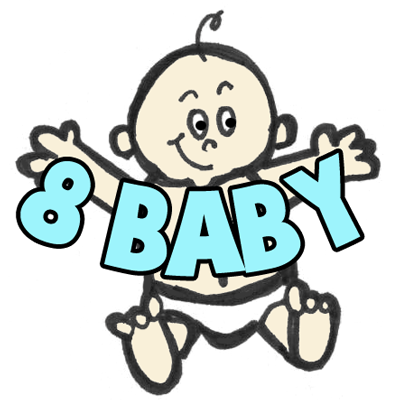 How to Draw a Baby from the Number 8 or Letter B : Drawing Lesson