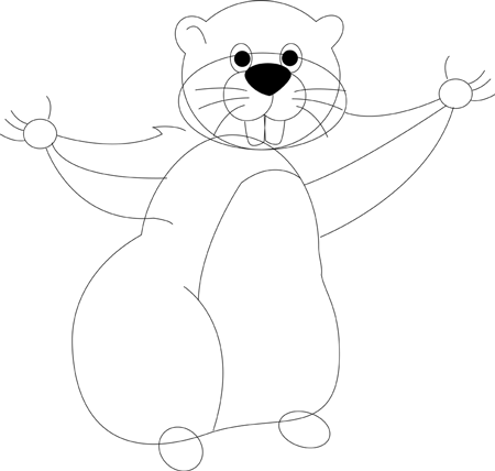Step 4 : Drawing Cartoon Groundhogs step by step drawing lessons